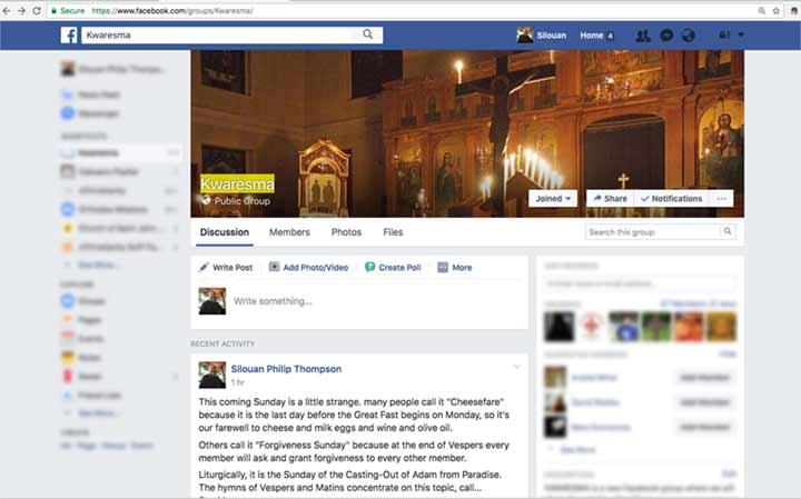 Kwaresma group on Facebook